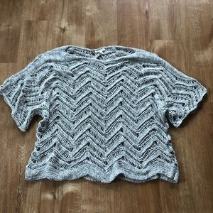 Eileen Fisher Gray Tan Open knit top 1X